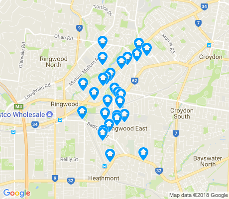 map of Ringwood East apartments for rent