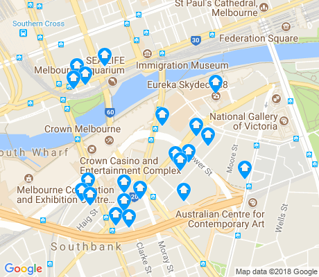 map of Southbank apartments for rent