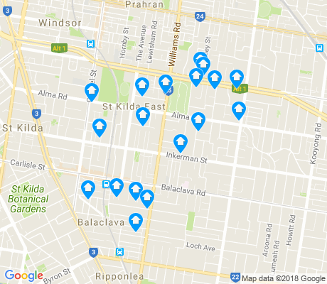 map of St Kilda East apartments for rent
