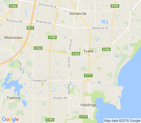 map of Tyabb apartments for rent