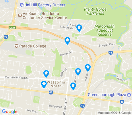 map of Watsonia North apartments for rent