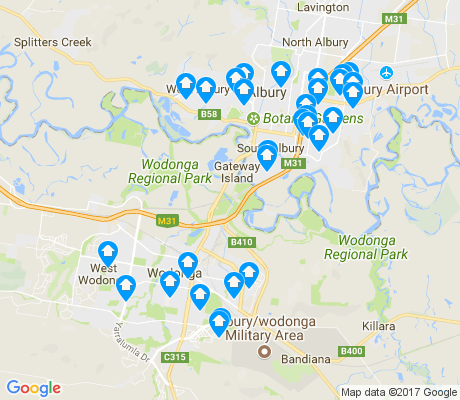 map of Wodonga apartments for rent