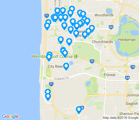 map of City Beach apartments for rent