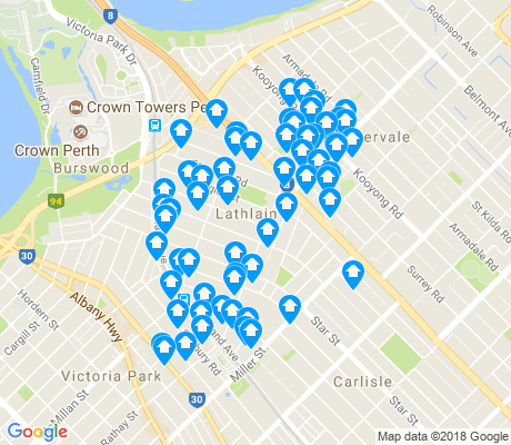 map of Lathlain apartments for rent