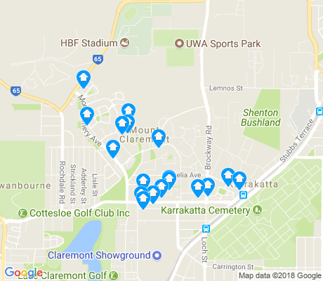 map of Mount Claremont apartments for rent