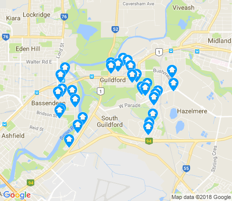 map of South Guildford apartments for rent