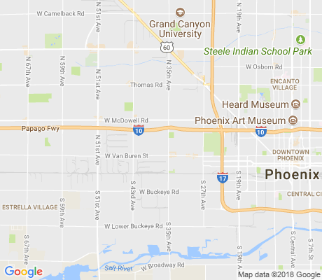 map of West Phoenix apartments for rent