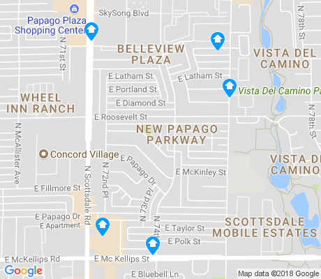 map of New Papago Parkway apartments for rent