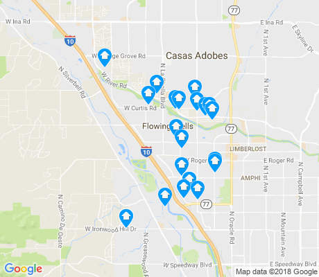 map of Flowing Wells apartments for rent