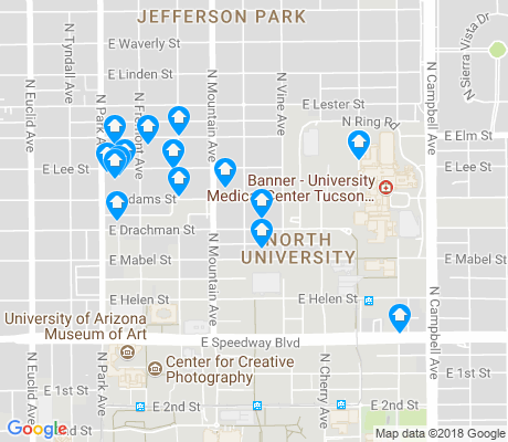 map of North University apartments for rent