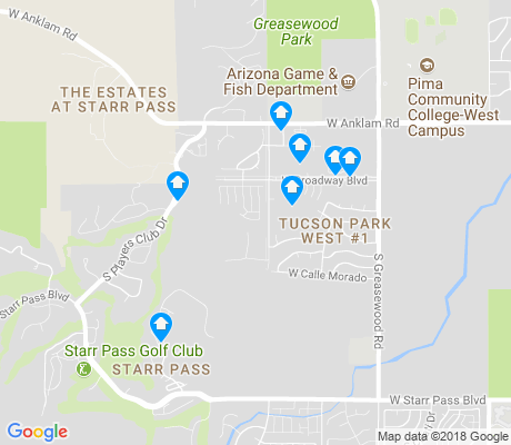 map of Starr Pass apartments for rent