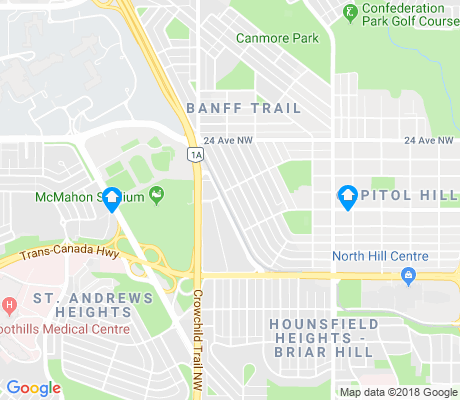 map of Banff Trail apartments for rent