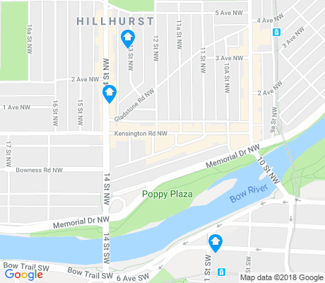 map of Hillhurst apartments for rent