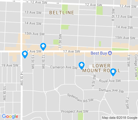 map of Lower Mount Royal apartments for rent