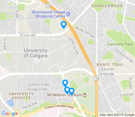 map of University Of Calgary apartments for rent