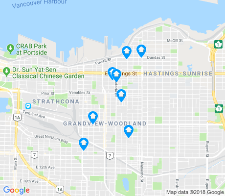 map of Grandview-Woodland apartments for rent
