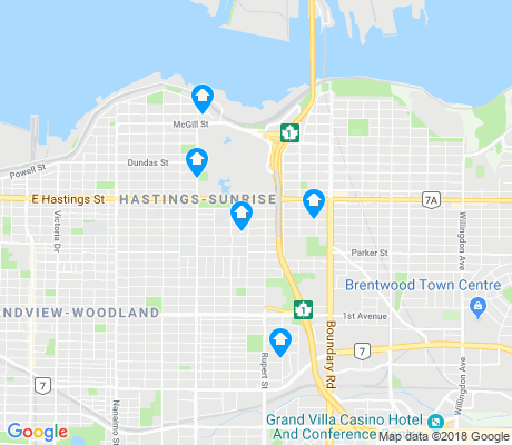 map of Hastings-Sunrise apartments for rent
