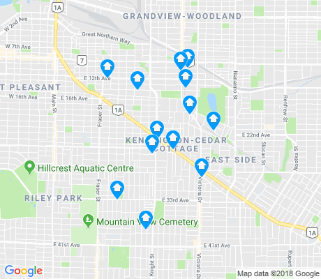 map of Kensington-Cedar Cottage apartments for rent