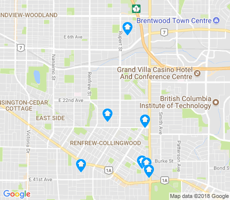 map of Renfrew-Collingwood apartments for rent