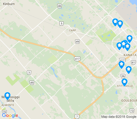 map of West Carleton-march apartments for rent