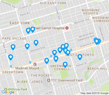 map of Danforth Village - Toronto apartments for rent