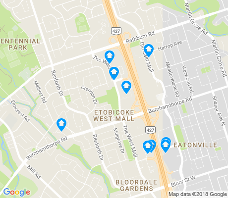 map of Etobicoke West Mall apartments for rent