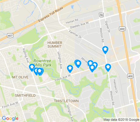 map of Humber Summit apartments for rent