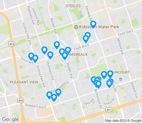 map of L'Amoreaux apartments for rent