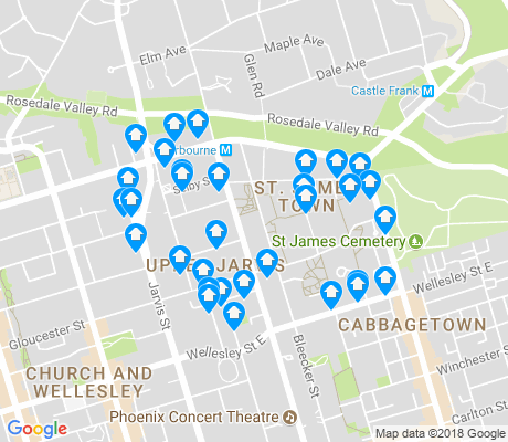 map of North St.James Town apartments for rent