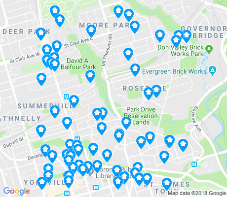 map of Rosedale-Moore Park apartments for rent