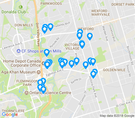 map of Victoria Village apartments for rent