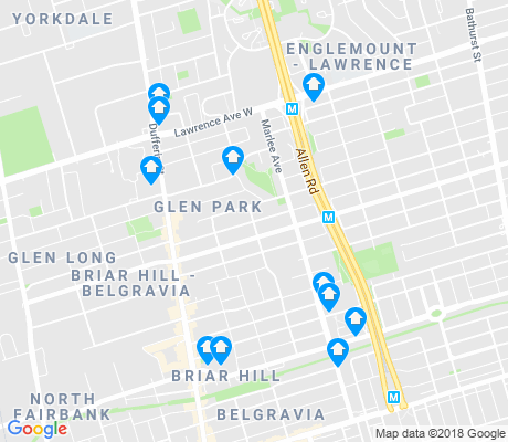 map of Yorkdale-Glen Park apartments for rent