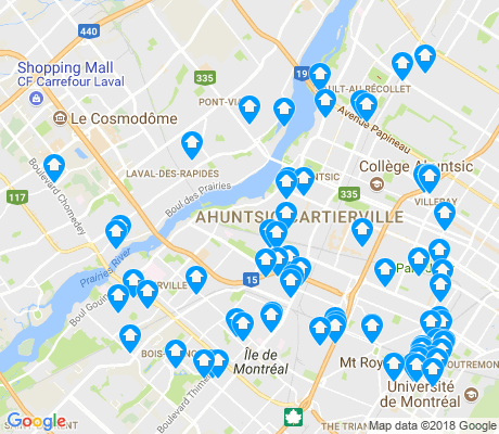 map of Ahuntsic-Cartierville apartments for rent