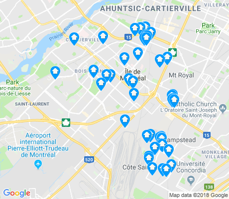 map of Saint-Laurent apartments for rent
