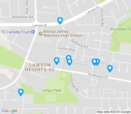 map of Lawson Heights Suburban Centre apartments for rent