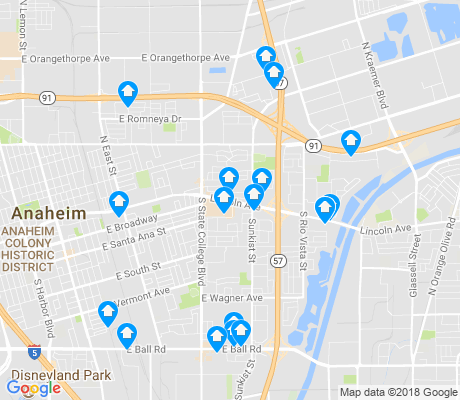map of East Anaheim apartments for rent