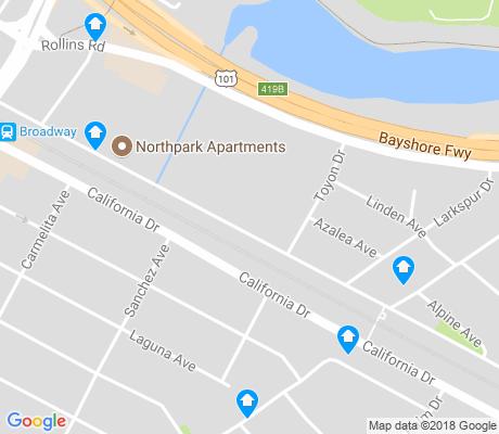 map of Burlingame Gardens apartments for rent