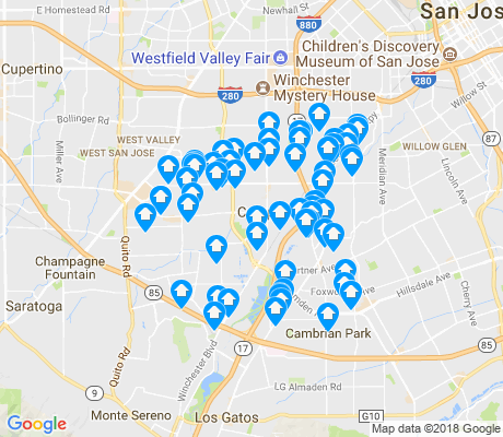 map of Campbell apartments for rent