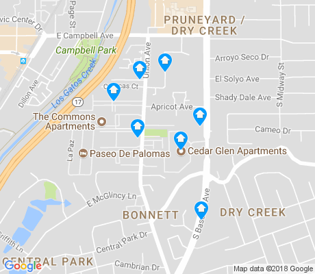 map of Union apartments for rent