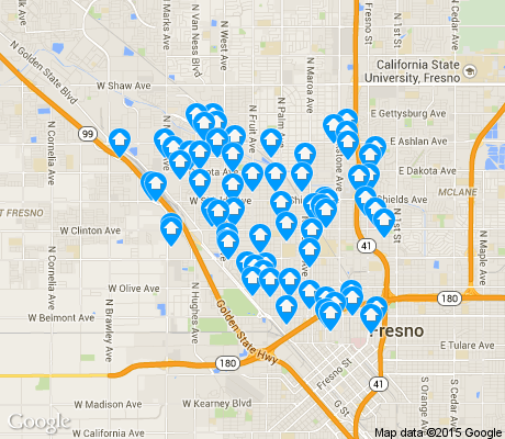 map of Fresno High Roeding apartments for rent