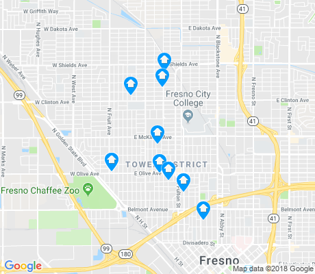 map of Tower District apartments for rent