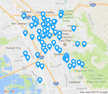 map of Hayward apartments for rent