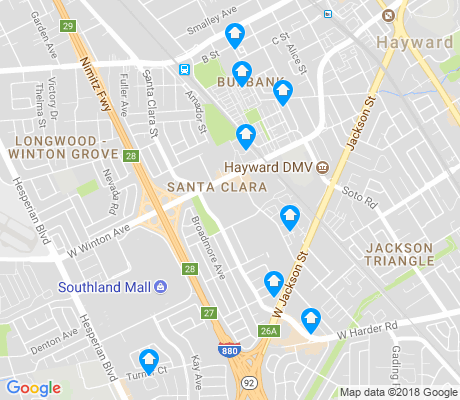 map of Santa Clara apartments for rent