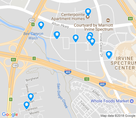 map of Irvine Center apartments for rent