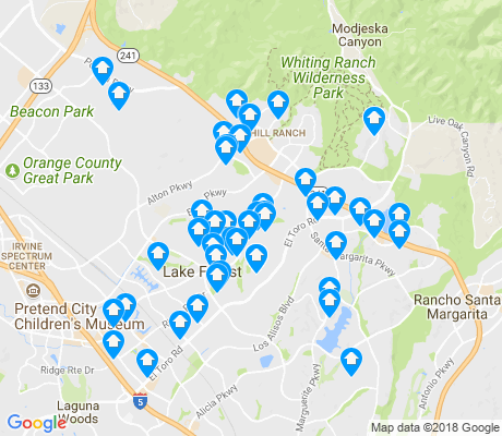 map of Lake Forest apartments for rent