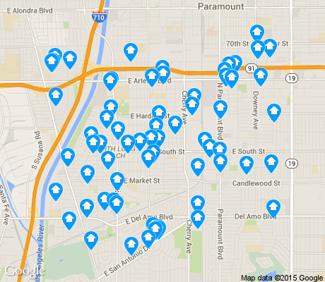 map of North Long Beach apartments for rent