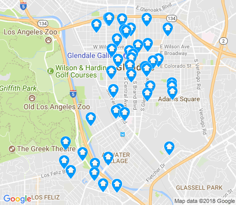 map of Atwater Village apartments for rent