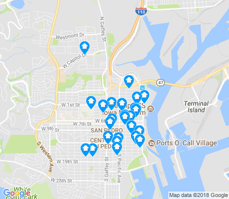 map of Central San Pedro apartments for rent