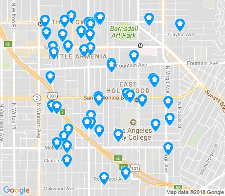 map of East Hollywood apartments for rent