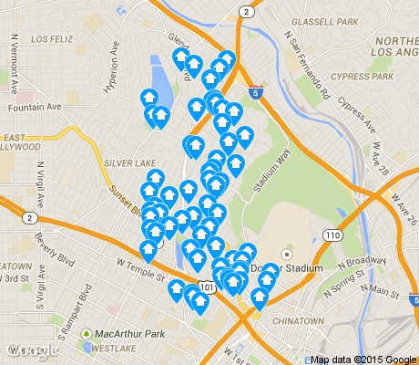 map of Echo Park apartments for rent